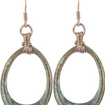 Aged Finish Metal Oval Ring Two Tone Earrings