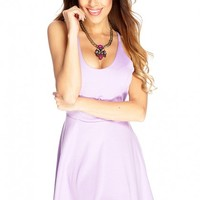 Lilac Knotted Strap Back A-Line Dress
