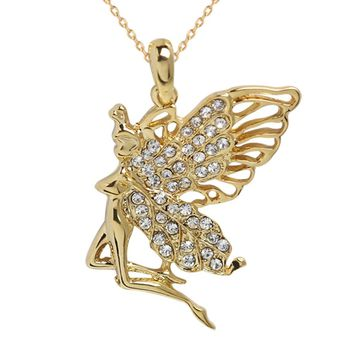 Gold Color Crystal Angel Pendant Necklace