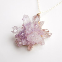 Amethyst Rose Tipped Druzy Necklace - 3D Very Rare Shape - OOAK