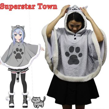 Cool Neko Atsume Cat Backyard Cosplay Cloak Cute Japanese Cartoon Warm Costume Hoodies With Tail Kawaii Daily Fleece CoatAT_93_12