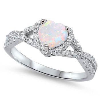 Choose Color Rhodium Sterling Silver Simulated Opal Halo Infinity Shank Heart Love Promise Ring