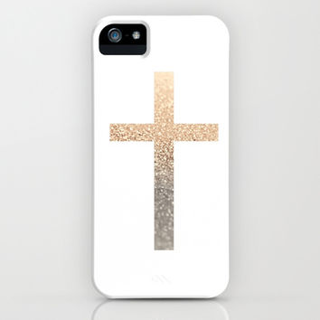 GATSBY GOLD CROSS iPhone & iPod Case by Monika Strigel