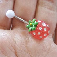 Strawberry Stud Belly Button Jewelry Ring Navel Piercing Red Fruit Bar Barbell