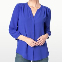 Utlra Marine Pin Tuck Button-Front Top - Petite