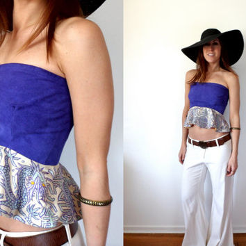 Purple Leather Suede & Gold Satin Asian Dragon Peplum Zip Up Bustier Upcycled