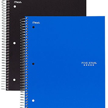 Five Star Spiral Notebook, 5 Subject, 200 College Ruled Sheets, Black and Cobalt Blue, 2 PACK (73035)