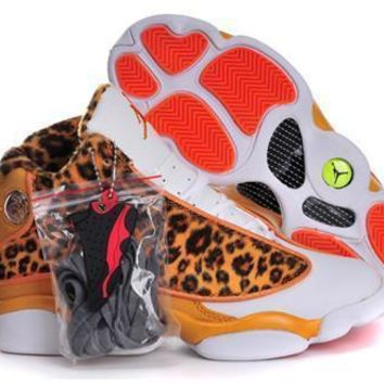 Fashion Online Hot Nike Air Jordans 13 Women Shoes Leopard Print Orange White