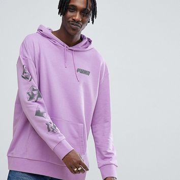 Puma Hoodie With Back Print In Purple Exclusive To ASOS at asos.com