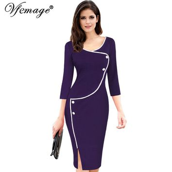 Vfemage Womens Vintage Brief Split Bottom Elegant Casual Work 3/4 Sleeve Deep O-Neck Bodycon Knee Women Office Pencil Dress 4239 Y1890701