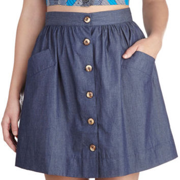 ModCloth 90s Short A-line Countdown to Casual Skirt