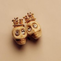 Skull with Crown Earrings 061017 by goodbuy on Zibbet
