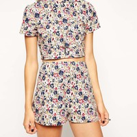 ASOS Reclaimed Vintage Crop Top with Collar in Red Pansy Print at asos.com