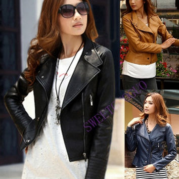 Womens Fashion Faux Leather Zip up Moto Jacket Coat Black = 1931894404