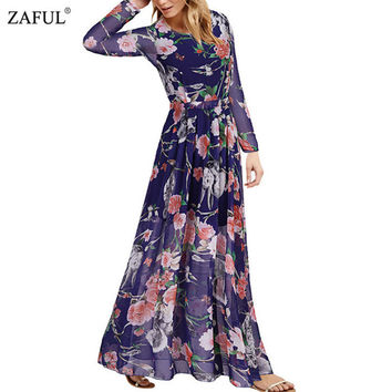 ZAFUL New Arrival Fashion Long Sleeved Chiffon Maxi Dress Woman Owl & Floral Printing Bohemian Plus Siz party Dress L-6XL