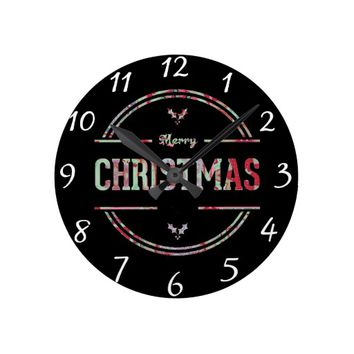 Merry Christmas Greeting Round Clock