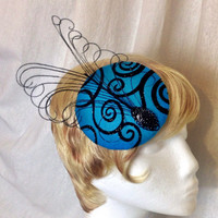 Black and blue curled feather derby cocktail hat fascinator hair clip