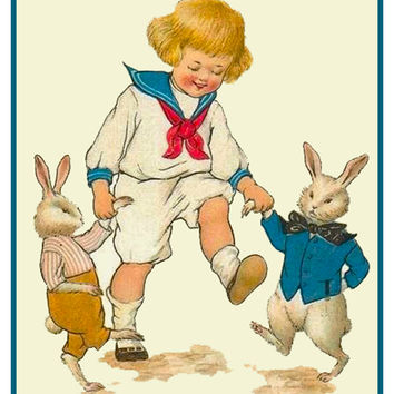 Vintage Easter Young Boy Dancing with Bunnies Counted Cross Stitch or Counted Needlepoint Pattern