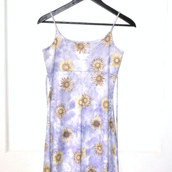 early 90s mini dress 1990s vintage DAISY print dress 90s CLUB kid floral baby doll spaghetti strap dress small