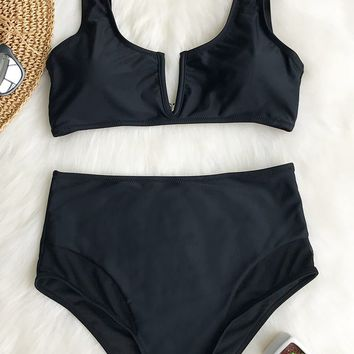 Cupshe Agree With Me High-waisted Bikini Set