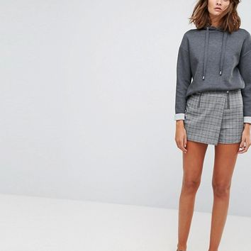 Stradivarius Check Double Zip Skort at asos.com