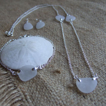 White Scottish sea glass and sterling silver Bridesmaid set, necklace, bracelet and earrings, bridesmaid bridal jewelry, white sea glass set