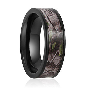 7mm Camo Hunting Camouflage Wedding Band Camouflage Wedding Band, Black Camo Ring, Black Titanium Ring