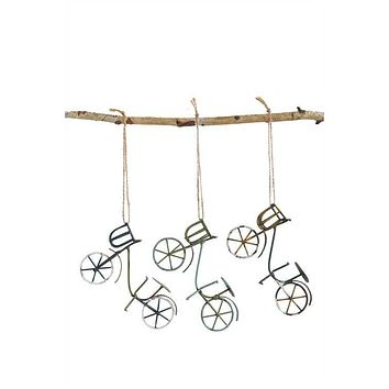 Vintage Miniature Metal Wire and Tin Bicycle Ornaments - Set of 3