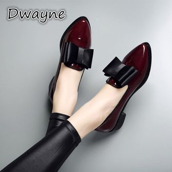 Genuine Leather Flat shoes woman Pointed Toe With low woman Loafers Cowhide Autumn Casual Shoes women Flats low heel women shoes