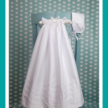 Long Christening Gown with Bonnet  - infant christening bishop dress - white  shantung - blessing dress with bonnet - Long Baptism Gown