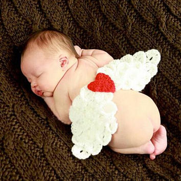 Hand Knitted Newborn Baby Photo Prop Angel Wings. Crochet White Angel Wings