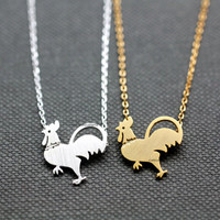 Chicken necklace/ Rooster pendant  Necklace / Animal Necklace / Birds necklaces - Available color as listed ( Gold, Silver )