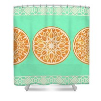 Three Lacy Orange Slices On Eucalyptus Green Shower Curtain for Sale by Ruth Moratz
