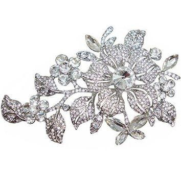 TTjewelry Elegant Austrian Crystal Flower Brooch Pin Romantic Wedding Bride Bridesmaid Rhinestone