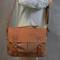 New Genuine Leather and Canvas Messenger Bag laptop tablet A4 documents postman travel business casual school