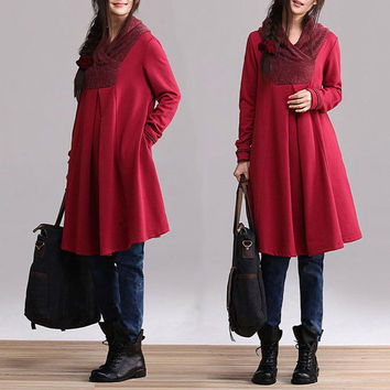 Red cotton long-sleeved pullover sweater dress type A word / casual jacket winter dresses