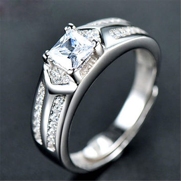 Fashion Mens Boys Unique Diamond Silver Adjustment Ring Casual Jewelry Best Gift Rings-73