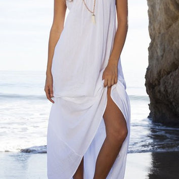 White Spaghetti Strap Open Back Beach Dress