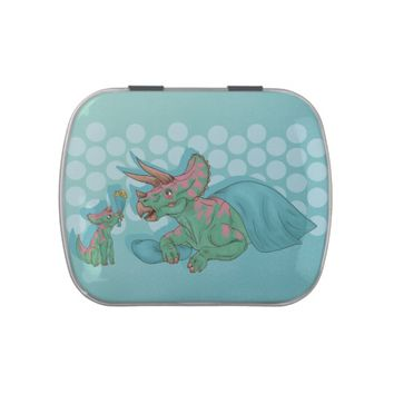Triceratops Giving Flowers Candy Tin