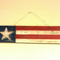 Rustic, Patriotic, American Flag Sign on Upcycled Barn Wood 4th of July pallet wood primitive sign wall hanging door hanger red white blue