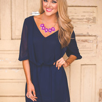 Navy Draped Dress