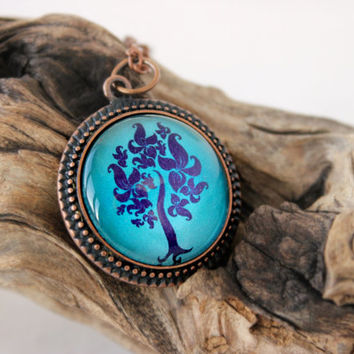 Deep Turquoise - Purple Tree Vector Art, Antique Copper Pendant,Glass Cabochon Pendant With Chain