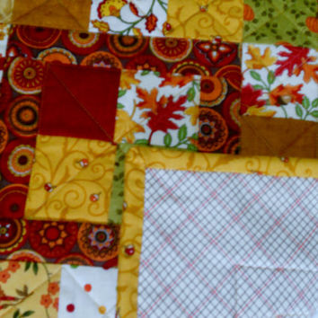 Farmhouse Fall Autumn Quilted Table Topper Candle Mat Gold Brown Burgundy