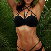 Black Strappy Push Up Bikini