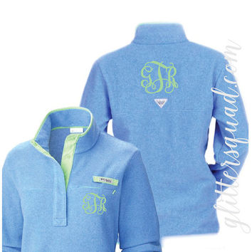 Monogramed Columbia Sportswear Harborside Pullover / Pink Fleece Sweater / Blue Fleece / Super Soft Fleece Sweater / Light Blue