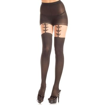 Be Wicked Opaque Faux Bow Garter Strap Pantyhose