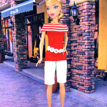 Barbie Doll Clothes - Red Doll Top with White Shorts, Earrings, Fashion Belt, and Redesigned Shoes