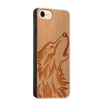 Wood  - Howling Wolf Phone Case