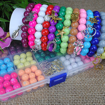 14 x bracelets - Kit Kits Set of beads to make bracelets stretch,  jewellery making  , organizer  , gift for a girl, BG1