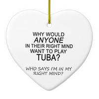 Right Mind Tuba Double-Sided Heart Ceramic Christmas Ornament